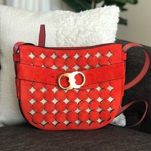 Tory Burch Gemini Red Suede Crossbody Leather Bag
